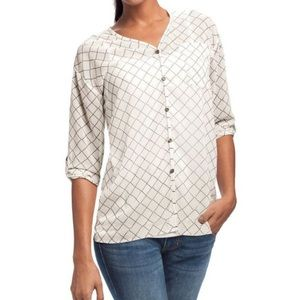4/$25 CAbi Sheer Chessboard Plaid Blouse 740 Small